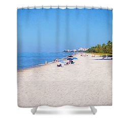 A Day At Naples Beach Shower Curtain