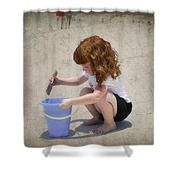 A Day At The Beach Shower Curtain by Charles Beeler