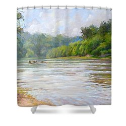 A Day At The River  Shower Curtain by Nancy Stutes