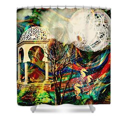 Shower Curtain featuring the mixed media A Day In The Park by Ally  White
