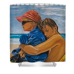 A Day On The Beach Shower Curtain by Katharina Filus