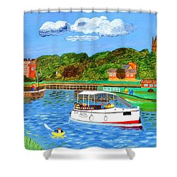 A Day On The River In Exeter Shower Curtain
