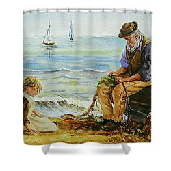 A Day With Grandad Shower Curtain by Andrew Read