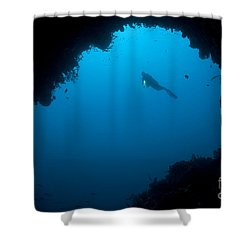 A Diver Explores A Cavern In Gorontalo Shower Curtain by Steve Jones