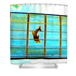 A Dolphin On A Guitar Ocean Shower Curtain
