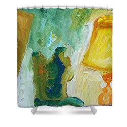 A Door A Chair And A Yellow Lamp Shower Curtain