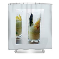 A Drink With Asparagus Shower Curtain by Romulo Yanes