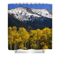 A Dusting Of Snow On The Peaks Shower Curtain by Saija  Lehtonen