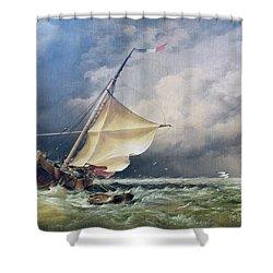 A Dutch Beurtman Aground Shower Curtain by Edward William Cooke