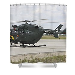 A Eurocopter Ec145 Helicopter Shower Curtain by Timm Ziegenthaler
