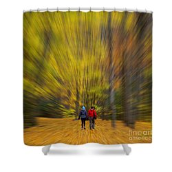 A Fall Stroll Taughannock Shower Curtain by Jerry Fornarotto