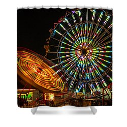 Shower Curtain featuring the photograph Colorful Carnival Ferris Wheel Ride At Night by Jerry Cowart