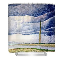 A Finger To The Sky Shower Curtain by A  Robert Malcom