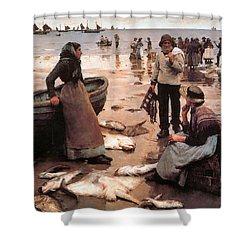 A Fish Sale On A Cornish Beach Shower Curtain