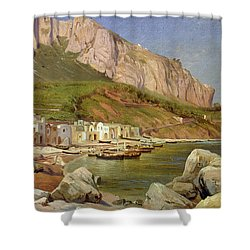 A Fishing Village At Capri Shower Curtain by Louis Gurlitt