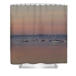 A Foggy Fishing Day Shower Curtain by John Telfer
