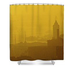 A Foggy Golden Sunset In Honolulu Harbor Shower Curtain