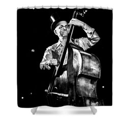 Shower Curtain featuring the photograph A French Contrabass Player by Stwayne Keubrick