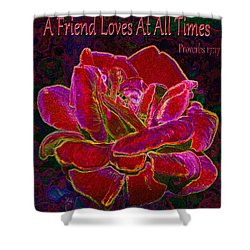A Friend Loves At All Times Shower Curtain by Michele Avanti