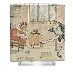 A Frog He Would A Wooing Go Shower Curtain by Randolph Caldecott