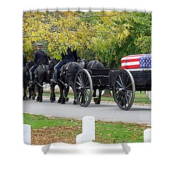 Shower Curtain featuring the photograph A Funeral In Arlington by Cora Wandel