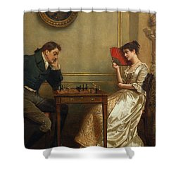 A Game Of Chess Shower Curtain by George Goodwin Kilburne