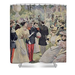 A Garden Party At The Elysee Shower Curtain by Fortune Louis Meaulle