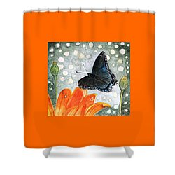 A Garden Visitor Shower Curtain by Angela Davies