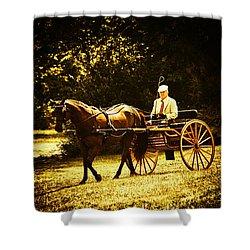 A Gentlemans Ride Shower Curtain by Karol Livote
