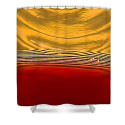A Glass Of Wine-backlit With Blinds-and Wow Shower Curtain by Gary Holmes