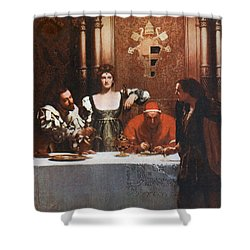 A Glass Of Wine With Caesar Borgia Shower Curtain by Philip Ralley