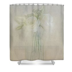 Shower Curtain featuring the photograph A Glimpse Of Roses by Annie Snel