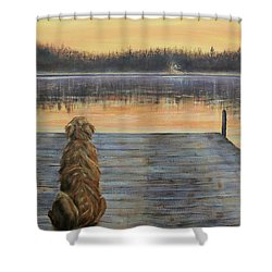 A Golden Moment Shower Curtain by Susan DeLain