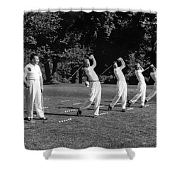 A Golf Driving Demonstration. Shower Curtain