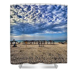 a good morning from Jerusalem beach  Shower Curtain by Ron Shoshani