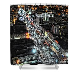 A Gothic Night In New Orleans On Canal Street Shower Curtain by Kathleen K Parker