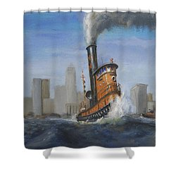 A Great Day For Tugs Shower Curtain by Christopher Jenkins