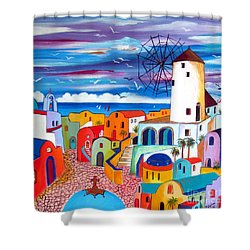A Greek Mill And The Colors Of Oia Santorini  Shower Curtain