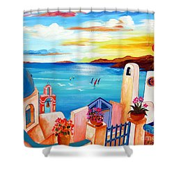 A Greek Seaview Shower Curtain