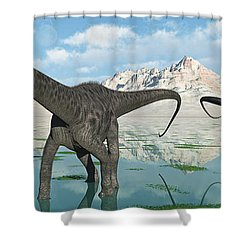 A Group Of Diplodocus Dinosaurs Grazing Shower Curtain by Mark Stevenson