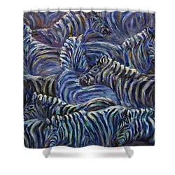 Shower Curtain featuring the painting A Group Of Zebras by Xueling Zou