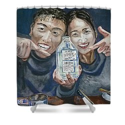 Shower Curtain featuring the painting A Happy Birthday by Anna Ruzsan