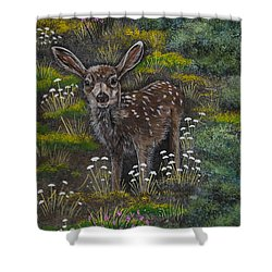 Shower Curtain featuring the painting A Happy Fawn by Jennifer Lake