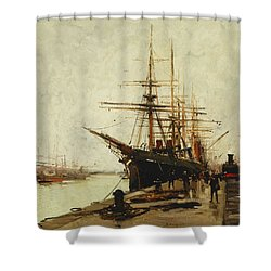 A Harbor Shower Curtain by Eugene Galien-Laloue
