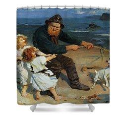 A Harbor Scene Shower Curtain by Arthur John Elsley