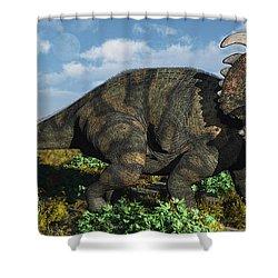A Herd Of Albertaceratops Shower Curtain by Mark Stevenson