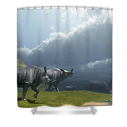 A Herd Of Brontotherium Dinosaurs Come Shower Curtain by Corey Ford