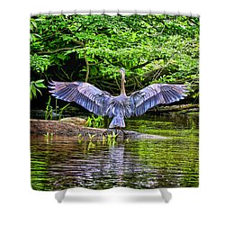 Shower Curtain featuring the photograph A Heron Touches Down by Eleanor Abramson