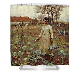 A Hinds Daughter, 1883 Oil On Canvas Shower Curtain by Sir James Guthrie