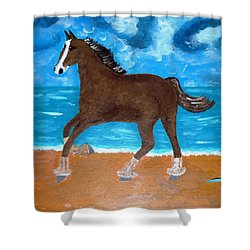A Horse On The Beach Shower Curtain by Magdalena Frohnsdorff